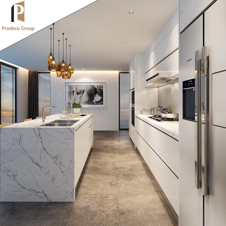 Customized Modern Kitchen Design White Lacquer Kitchen Cabinet