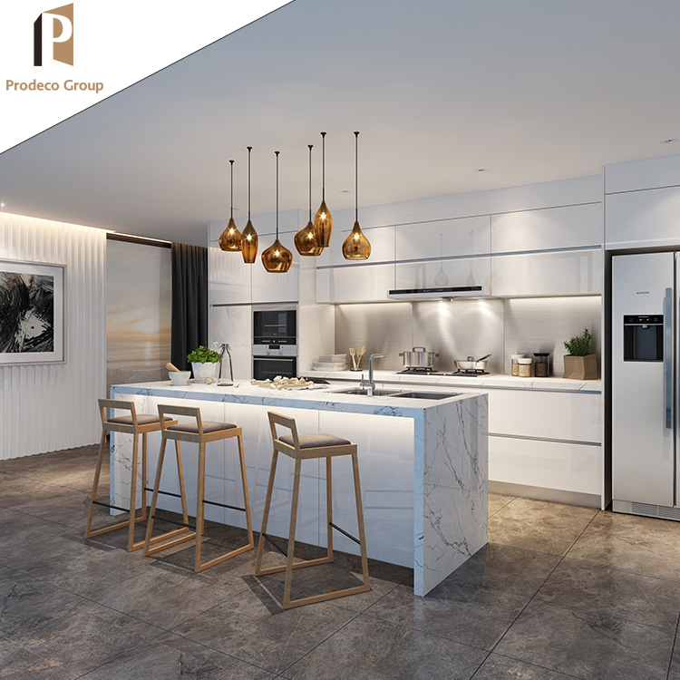 Lacquer Kitchen Cabinets: Customized Modern Kitchen Design White Lacquer Kitchen Cabinet