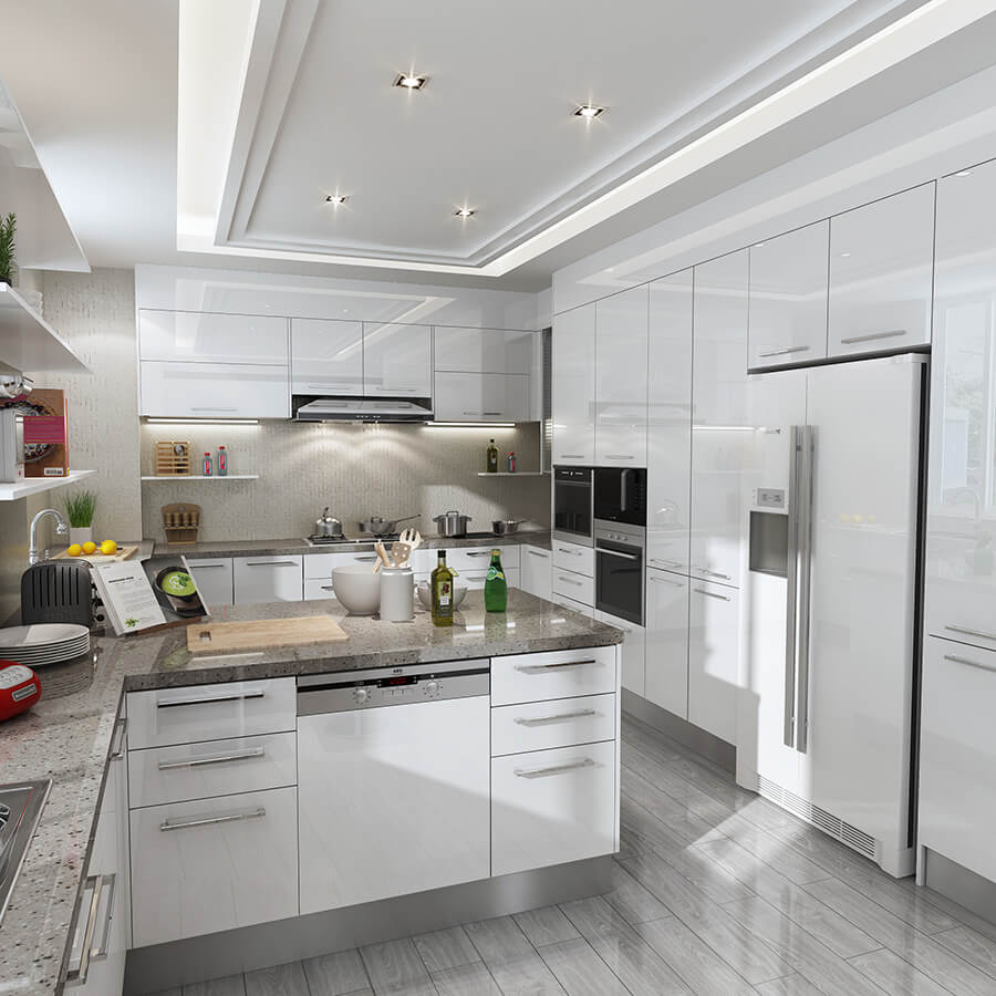 Modern High Gloss Lacquer Kitchen Cabinet On Selling