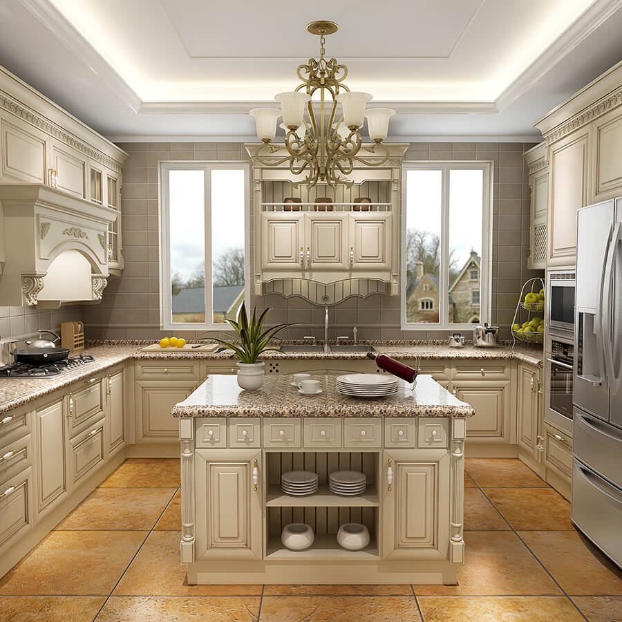 Antique White kitchen cabinet Designs Cherry Solid Wood ... on Model Kitchen Ideas  id=45728