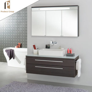 wood grain floating bathroom vanity