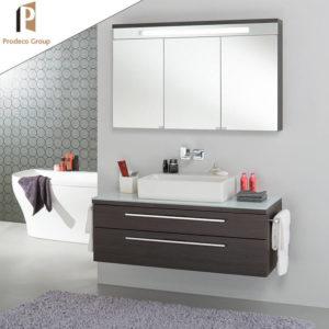 wood grain floating bathroom vanity