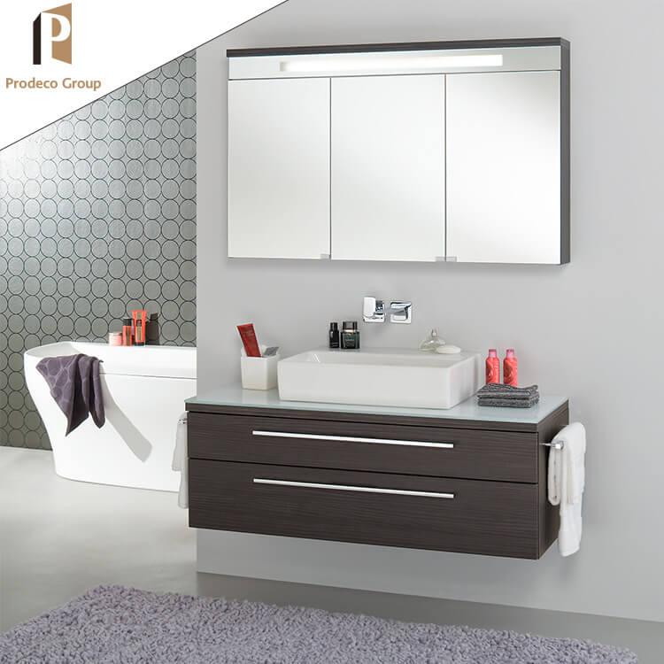 European Special Texture Wood Grain Floating Bathroom Vanity