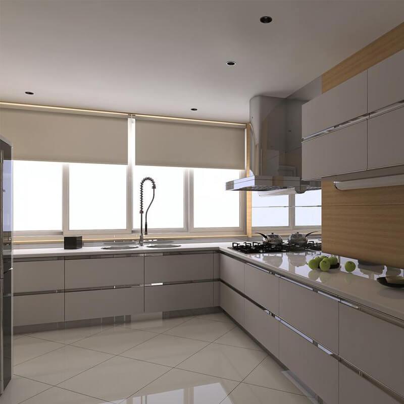Custom Solid Wood White Shaker Style Modular Kitchen Cabinet